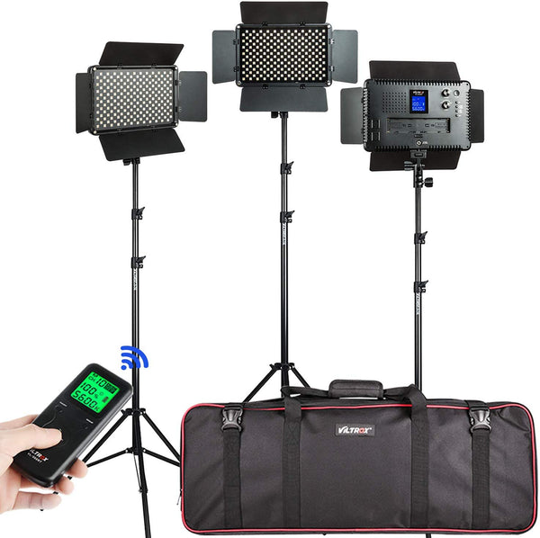 3 Pack VILTROX VL-S192T  Video LED Light kit45W 3300K-5600K CRI 95+ with Light Stand