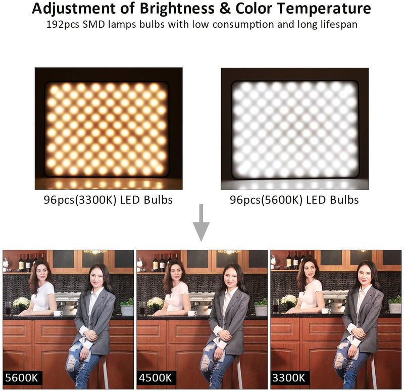 (3 Packs) VILROX VL-200T Bi-Color 3300K-5600K 30W Dimmable LED Video Light Panel Lighting Kit