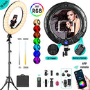 Weeylite WE-10 Dimmable 18'' RGB LED Ring Light with 17 Lighting Effects Controlled by Mobile APP/Remote