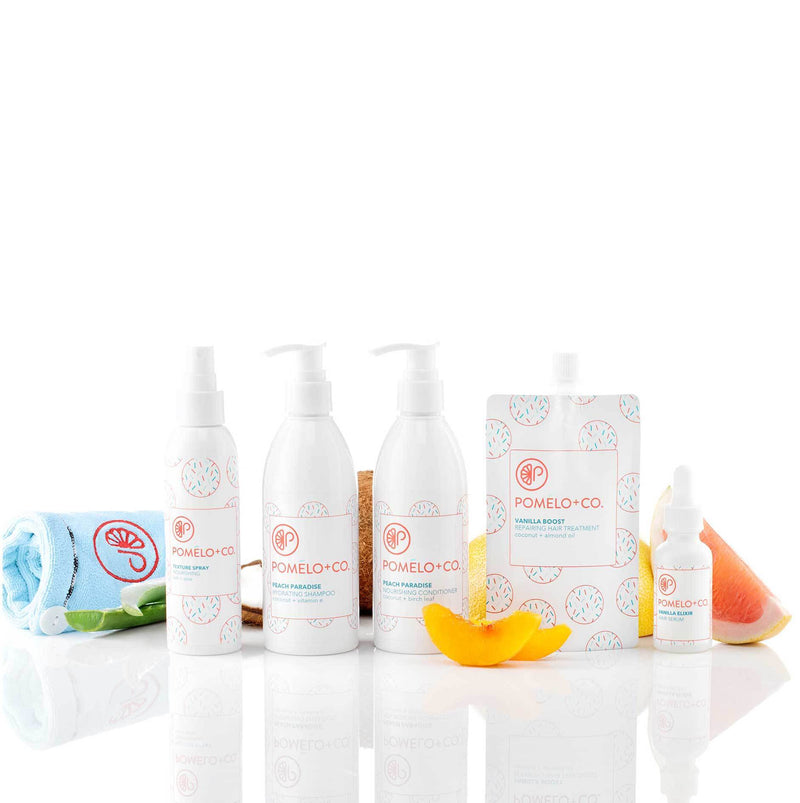 <b>PEACH QUEEN SET</b> <br>Trattamento + Shampoo + Balsamo + Siero + Texture Spray