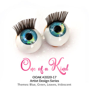 One of a Kind (#2020-17) - Premium 3D Infinity™ Blinking Doll Eyes (Light Skin Eyelids, Black-Brown Eyelashes)