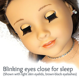 One of a Kind (#2020-15) - Premium 3D Infinity™ Blinking Doll Eyes (Light Skin Eyelids, Black-Brown Eyelashes)