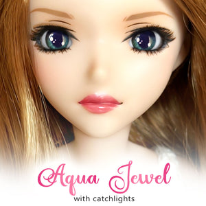 *IMPERFECT* Aqua Jewel (Anime) - Reflective BJD Eyes in SD Semi-Real Size (18mm Eye, 8mm Iris)