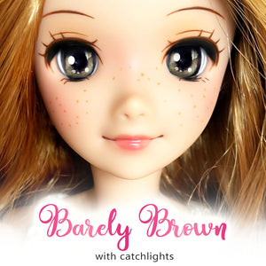 *IMPERFECT* Barely Brown (Anime) - Reflective BJD Eyes in SD Half-Open Size (18mm Eye, 10mm Iris)