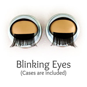 Hazel Green - Premium Classic Infinity™ Blinking Doll Eyes (Light Skin Eyelids, Black-Brown Eyelashes)