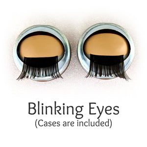 One of a Kind (#2020-16) - Premium 3D Infinity™ Blinking Doll Eyes (Light Skin Eyelids, Black-Brown Eyelashes)