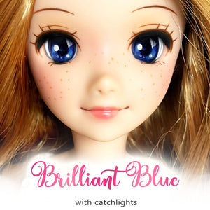 Brilliant Blue (Anime) - Reflective BJD Eyes in SD Half-Open Size (18mm Eye, 10mm Iris)