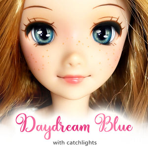 *IMPERFECT* Daydream Blue (Anime) - Reflective BJD Eyes in SD Half-Open Size (18mm Eye, 10mm Iris)