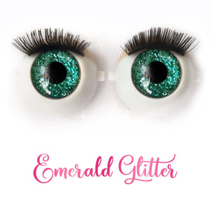 Emerald Glitter - Premium 3D Infinity™ Blinking Doll Eyes (Light Skin Eyelids, Black-Brown Eyelashes)