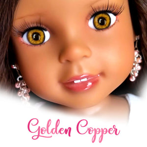 "Golden Copper - Glass Oval Eyes for 14"" Dolls (16mm Width, 9mm Iris)"