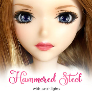 Hammered Steel (Anime) - Reflective BJD Eyes in SD Semi-Real Size (18mm Eye, 8mm Iris)