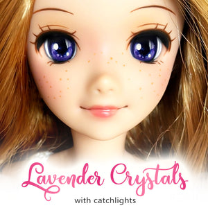 *IMPERFECT* Lavender Crystals (Anime) - Reflective BJD Eyes in SD Half-Open Size (18mm Eye, 10mm Iris)