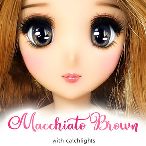 Macchiato Brown (Anime) - Reflective BJD Eyes in SD Full-Open Size (22mm Eye, 12mm Iris)