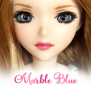 Marble Blue - Glass Oval Doll Eyes for Semi-Real SD (16mm Width, 9mm Iris)