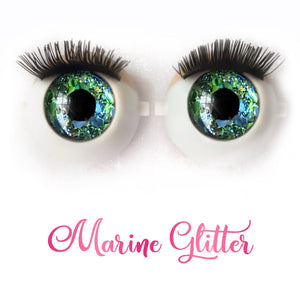 Marine Glitter - Premium 3D Infinity™ Blinking Doll Eyes (Light Skin Eyelids, Black-Brown Eyelashes)