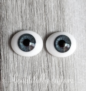 Premium Glass Inset Doll Eyes – Storm (Size Medium)
