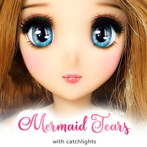 *IMPERFECT* Mermaid Tears (Anime) - Reflective BJD Eyes in SD Full-Open Size (22mm Eye, 12mm Iris)