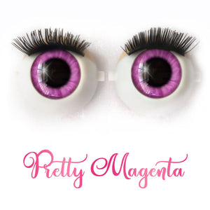 Pretty Magenta - Premium Classic Infinity™ Blinking Doll Eyes (Light Skin Eyelids, Black-Brown Eyelashes)