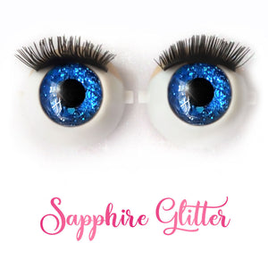Sapphire Glitter - Premium 3D Infinity™ Blinking Doll Eyes (Light Skin Eyelids, Black-Brown Eyelashes)