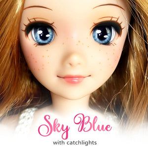 Sky Blue (Anime) - Reflective BJD Eyes in SD Half-Open Size (18mm Eye, 10mm Iris)
