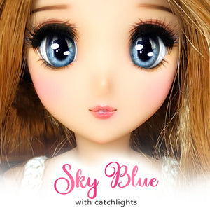 *IMPERFECT* Sky Blue (Anime) - Reflective BJD Eyes in SD Full-Open Size (22mm Eye, 12mm Iris)