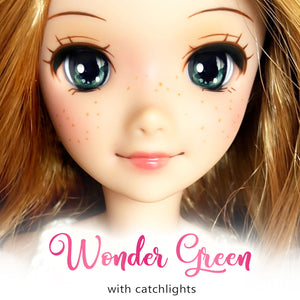 *IMPERFECT* Wonder Green (Anime) - Reflective BJD Eyes in SD Half-Open Size (18mm Eye, 10mm Iris)