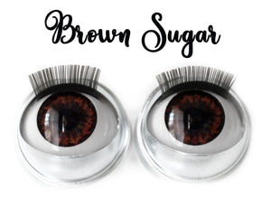 Brown Sugar - Standard Co-op Open/Close Doll Eyes (Light Tan Eyelids)