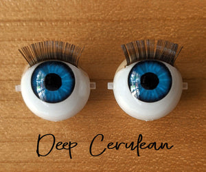 Deep Cerulean - Standard Blinking Doll Eyes (Light Tan Eyelids)