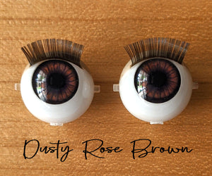 Dusty Rose Brown - Standard Blinking Doll Eyes (Light Tan Eyelids)
