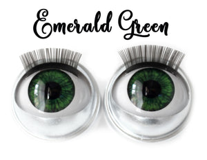 Emerald Green - Standard Co-op Open/Close Doll Eyes (Light Tan Eyelids)