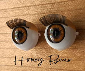 Honey Bear - Standard Blinking Doll Eyes (Very Pale Eyelids)