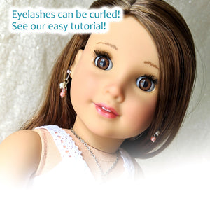 Dark Skin Eyelids, Black-Brown Eyelashes - Infinity™ Premium Base Blinking Doll Eyes
