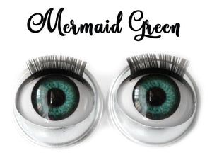 Mermaid Green - Standard Co-op Open/Close Doll Eyes (Light Tan Eyelids)