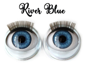 River Blue - Standard Co-op Open/Close Doll Eyes (Light Tan Eyelids)