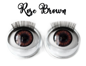 Rose Brown - Standard Co-op Open/Close Doll Eyes (Light Tan Eyelids)