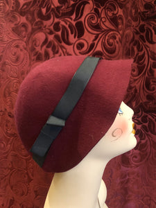 Women's Hats: 1960s does 1920s Burgundy Red Purple Wool Felt Floppy Cloche Hat with Black Grosgrain Bow Trim
