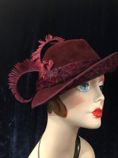 "Women s Hats  Vintage 1960s does 1940s ""Jack McConnell"" Burgundy Felt  Fedora with Feathered ... c436ba8d589"