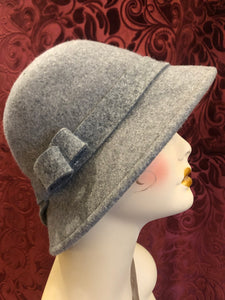 Women's Hats: Reproduction 1920s Style Stone Gray Wool Flannel Cloche Hat with Asymmetrical Bow Detail