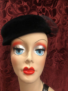 "Women's Hats: Vintage 1960s ""Levy Bros."" Black Felt Pillbox-Style Hat"