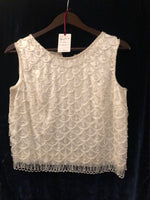Women's Tops: Vintage Cream Pearl Beaded Sleeveless Top