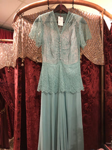 Women's Dresses: Vintage 1940s Tiffany Robin's Egg Blue Lace and Chiffon Peplum Evening Gown with Detached Full Slip