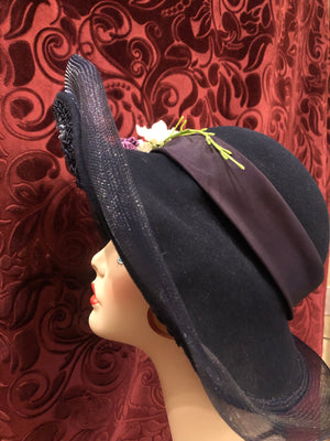 "Women's Hats: Vintage 1960s does 1910s 1920s ""Jody G. For Sylvia of St. Louis"" Navy Blue Wool Felt Cloche Hat with Floral Embellishments"