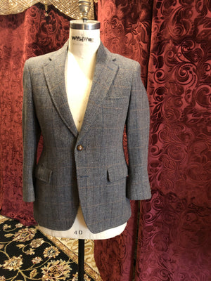 "Men's Blazers & Sportcoats: Colonial Blue & Rust Brown Windowpane Plaid ""John Weitz for Palm Beach"""