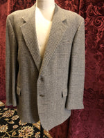 Men's Blazers & Sportcoats: Orvis Gray & Caramel Plaid Wool (1950's-1960's)