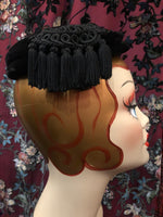 "Women's Hats: 1940s 1950s ""Hattie Carnegie for I. Magnin"" Black Velvet Mini Beret with Black Rayon Cord and Tassel Detail"