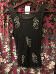 Women's Tops: Vintage Black Bias Beaded Sleeveless Shell with Silver Floral Accents