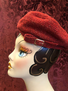 "Women's Hats: 1960s ""Madame Chopard"" Tomato Red Wool Tweed Tam Hat"