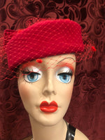 Women's Hats: Vintage 1990s does 1940s Lipstick Red Felt Pillbox Hat