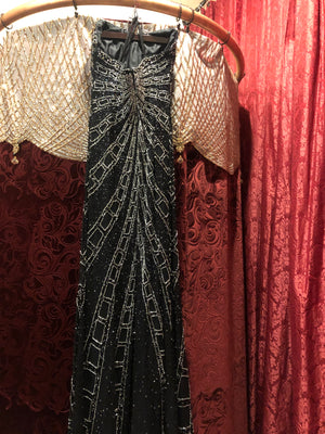 "Women's Dresses: Vintage 1980s 1990s ""Studio 17"" Black Strapless Evening Dress with Art Deco Silver and Black ""Filmstrip"" Pattern"