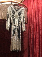 "Women's Dresses: Vintage 1980s does 1920s ""Star Light"" Black Long-Sleeve Cocktail Dress with Silver Sequins and Rose and Vine Beaded Detail"